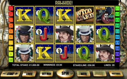 Desperados Review Slots Main game board featuring five reels and 20 paylines with a $200,000 max payout