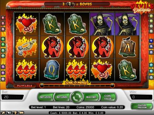 Devil's Delight Review Slots Main gaming board