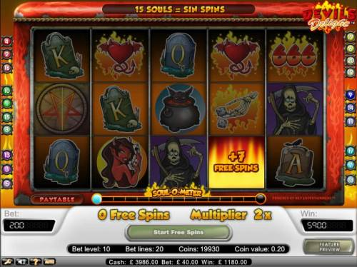Devil's Delight Review Slots free spins can be re-triggered during initial free game spins.