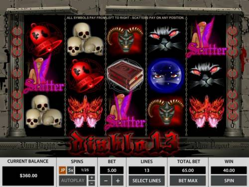 Diablo 13 Review Slots Three scatter symbols anywhere on the reels triggers the free spins feature.