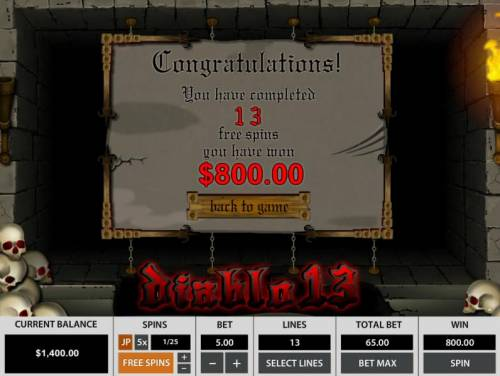 Diablo 13 Review Slots An 800.00 big win paid out for the free spins bonus feature.