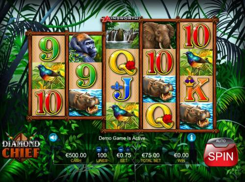 Diamond Chief Review Slots Main game board featuring five reels and 100 paylines with a $3,750 max payout.