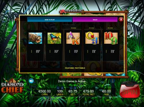 Diamond Chief Review Slots Low value game symbols paytable.