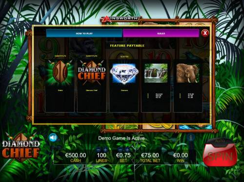Diamond Chief Review Slots Feature Paytable