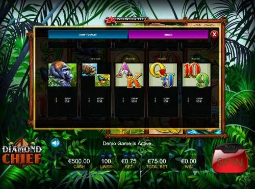 Diamond Chief Review Slots Feature Paytable - Low Value Symbols