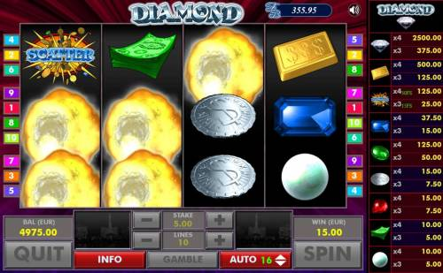 Diamond Review Slots After all wins are paid, winning symbols are exploded and new symbols drop in place giving player another chance at more wins