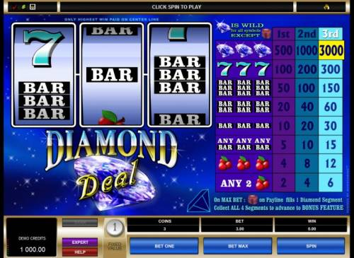 Diamond Deal Review Slots main game board featuring three reels and one pay line