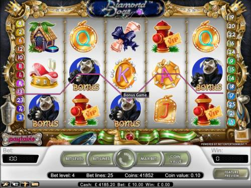 Diamond Dogs Review Slots bonus game awarded when 3 or more bonus symbols appear on payline