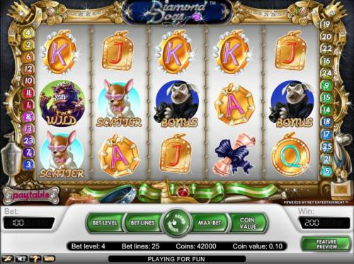 Diamond Dogs Review Slots scatter award is triggered when two or more scatter symbols appear on any reels