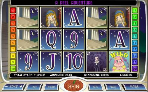 Diamond Slipper Review Slots Main game board featuring five reels and 20 paylines with a $20,000 max payout