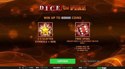 Dice on Fire Review Slots Win up to 60000 coins! Scatters and Free Spins.