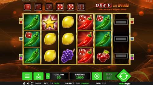 Dice on Fire Review Slots Main game board featuring six reels and 5 paylines with a $60,000 max payout.