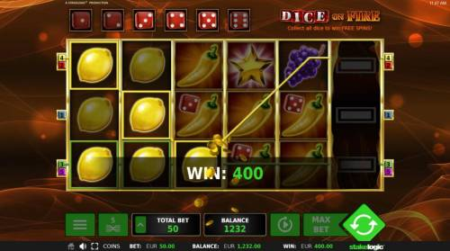 Dice on Fire Review Slots Lemon symbols winning combinations triggers a 400.00 win.