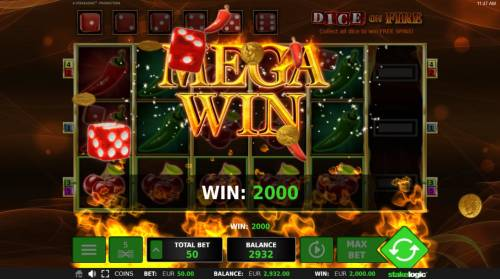 Dice on Fire Review Slots A 2000.00 Mega Win!