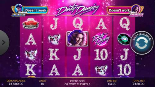 Dirty Dancing Review Slots An American musical romance film themed main game board featuring five reels and 40 paylines with a progressive jackpot max payout