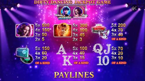 Dirty Dancing Review Slots High value slot game symbols paytable featuring American musical romance film insprired icons.