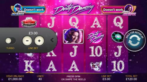 Dirty Dancing Review Slots Click on the side menu button to adjust the coin value.