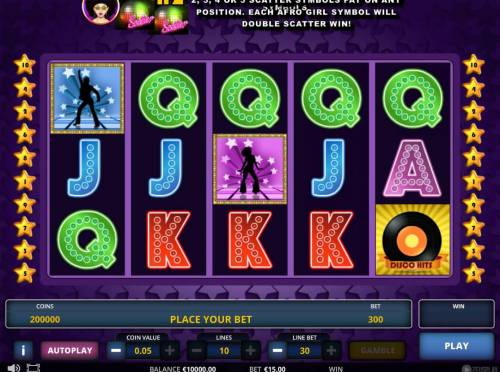 Disco fever Review Slots Main game board featuring five reels and 10 paylines with a $225,000 max payout.