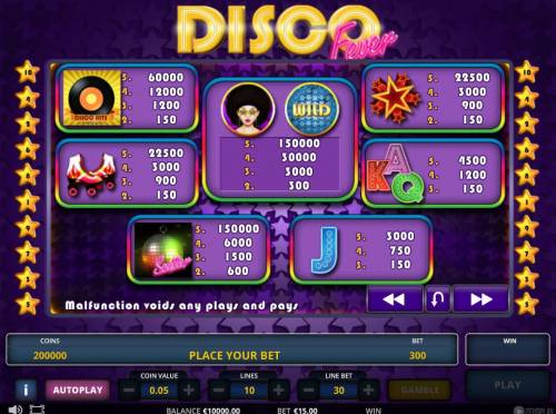 Disco fever Review Slots Slot game symbols paytable.