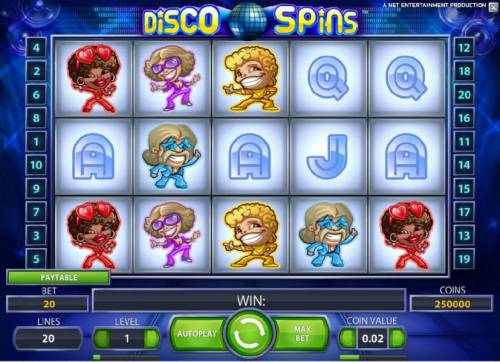 Disco Spins Review Slots main game board featuring five reels and twenty paylines with a chance to win up to 230000 coins