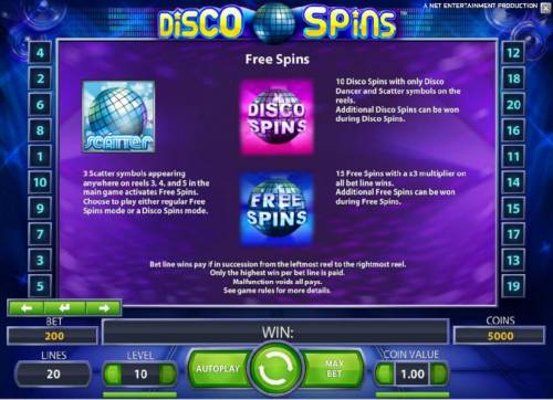 Disco Spins Review Slots scatter symbols, dsico spins and free spins rules