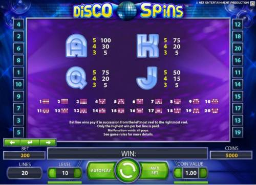 Disco Spins Review Slots slot game symbols paytable and payline diagrams