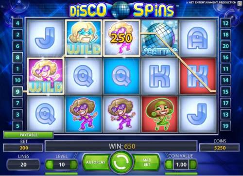 Disco Spins Review Slots 650 coin jackpot triggered by multiple winning paylines