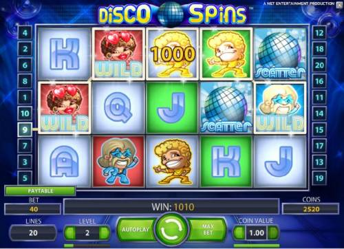 Disco Spins Review Slots four of a kind triggers a 1000 coin big win payout