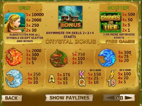 Goddess of Life Review Slots slot game symbols paytable featuring wild, bonus and scatter symbols