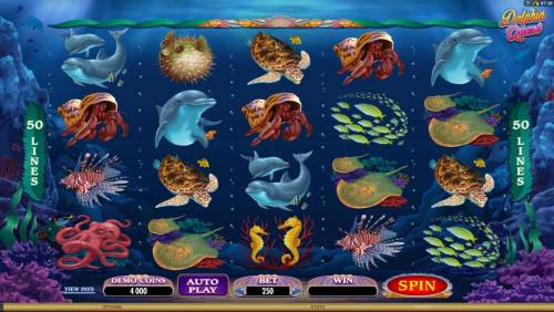 Dolphin Quest Review Slots main game board featuring five reels and fifty paylines
