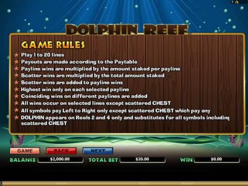 Dolphin Reef Review Slots general game rules