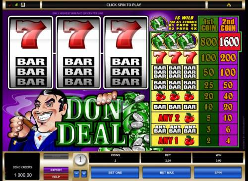 Don Deal Review Slots main game board featuring 3 reels and a single payline