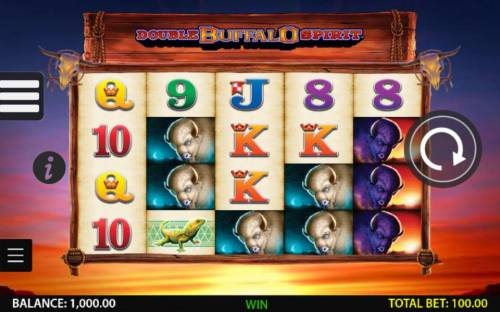 Double Buffalo Spirit Review Slots Main game board featuring five reels and 1024 winning combinations with a $250,000 max payout