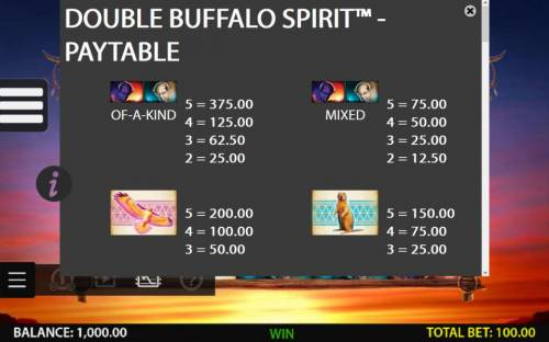 Double Buffalo Spirit Review Slots High value slot game symbols paytable - symbols include a white buffalo and a purple buffalo