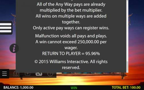 Double Buffalo Spirit Review Slots General Game Rules - A win cannot exceed 250,000.00 per wager. return to Player = 95.96%