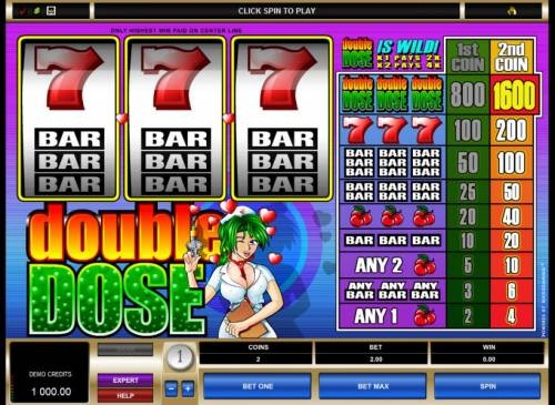 Double Dose Review Slots main game board featuring 3 reels and one pay line