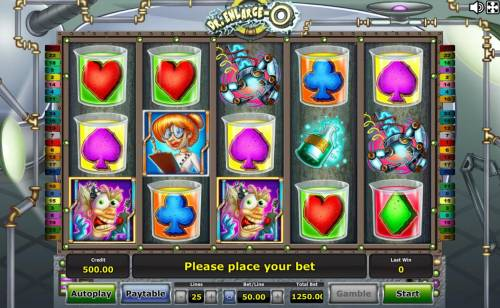 Dr. Enlarge-O Review Slots Main game board featuring five reels with 25 paylines and a $75,000 max payout.