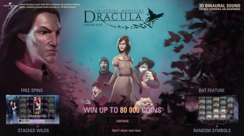 Dracula Review Slots This game features: free spins, stacked wilds, bat feature, random wilds and the chnace to win up to 80,000 coins.