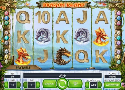 Dragon Island Review Slots main game board featuring five reels and 15 paylines