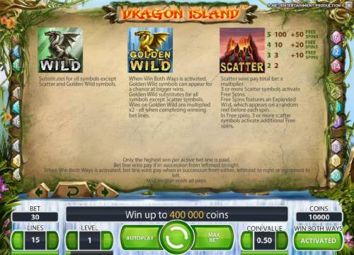Dragon Island Review Slots wild, golden wild and scatter symbol rules