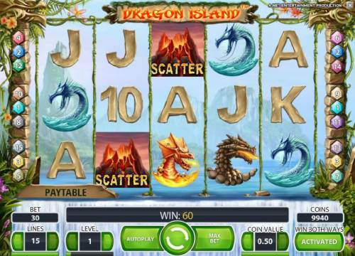 Dragon Island Review Slots a pair of scatter symbols triggers a 60 coin jackpot