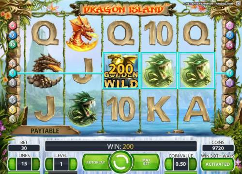 Dragon Island Review Slots golden wild combines with two dragon symbols to trigger a 200 coin payout