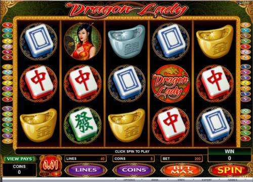 Dragon lady Review Slots Main game board featuring five reels and 40 paylines with a $25,000 max payout
