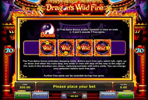 Dragon's Wild Fire Review Slots 3 Free Spins Bonus scatter symbols in view on reels 1, 3 and 5 awards 7 free games.