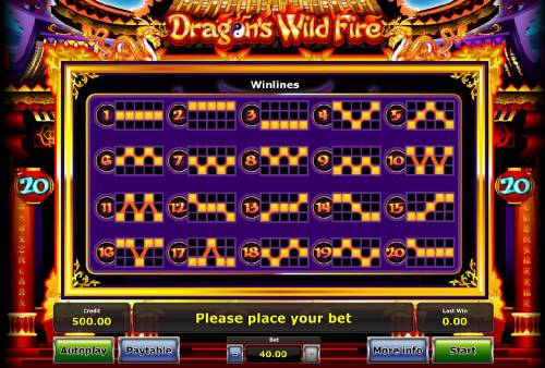 Dragon's Wild Fire Review Slots Payline Diagrams 1-20