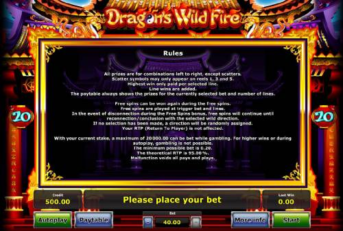 Dragon's Wild Fire Review Slots General Game Rules - The theoretical average return to player (RTP) is 95.00%.