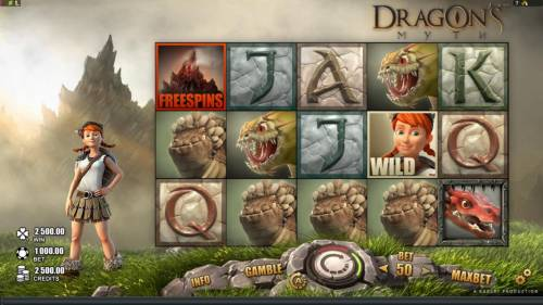 Dragon's Myth Review Slots Main game board featuring five reels and 50 paylines with a $50,000 max payout