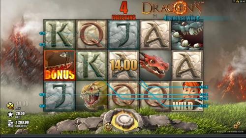Dragon's Myth Review Slots The legendary drangon cave feature is triggered by bonus symbol appearing on reel one.