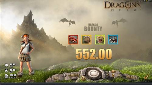 Dragon's Myth Review Slots The Dragon Bounty pays out a total of $552.00 for collecting all four dragons.