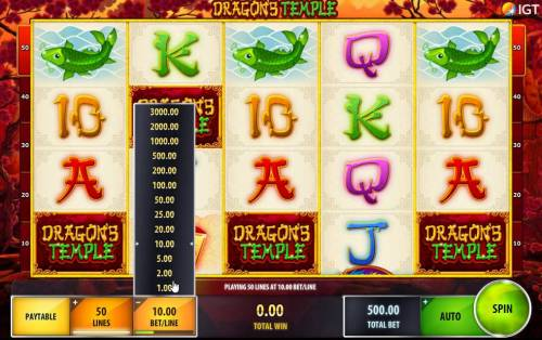 Dragon's Temple Review Slots Click the Bet/Line to adjust your line bet.